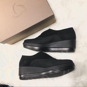 Kanna Rombo-Bask Black Wedge Sneaker 39